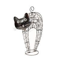 Soška Kočka kov nahrbená 32 cm