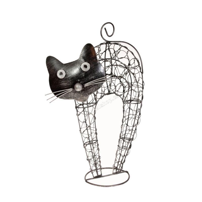 Soška Kočka kov nahrbená 32 cm Indonesie
