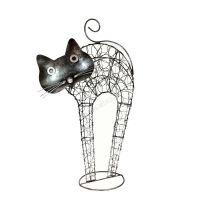 Soška Kočka kov nahrbená 45 cm