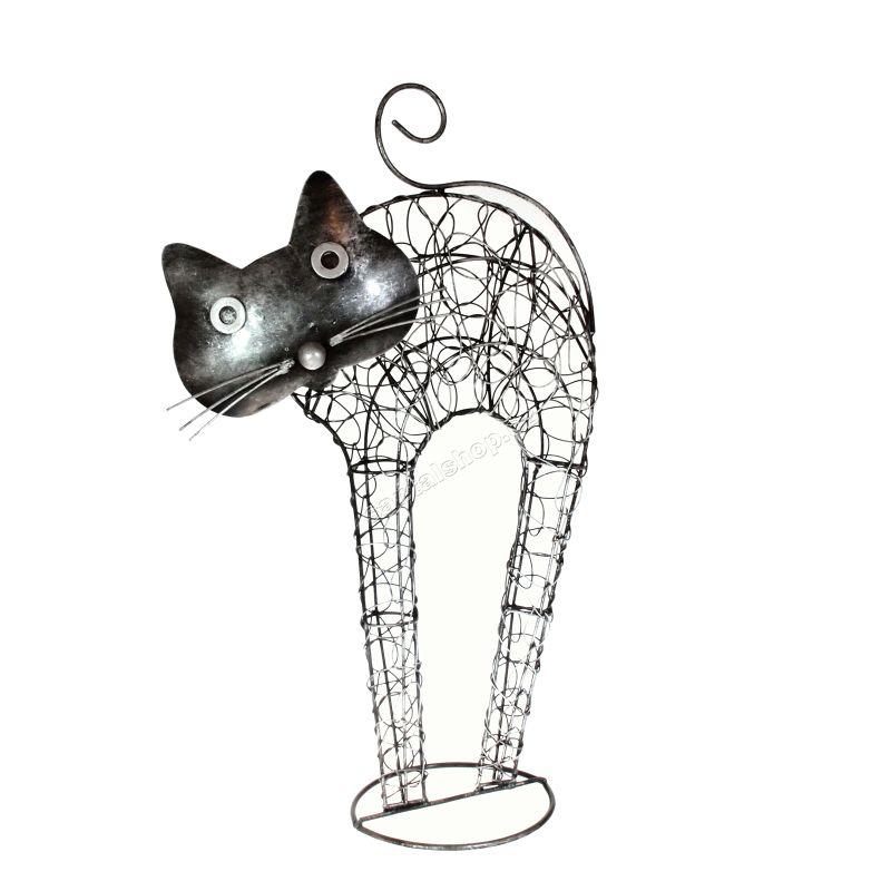 Soška Kočka kov nahrbená 45 cm Indonesie