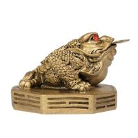 Soška Žába resin třínohá s mincí 5 cm Čína