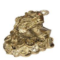Soška Žába resin třínohá s mincí 7 cm Čína