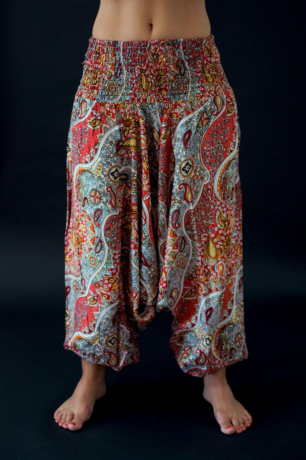 Harémové kalhoty červené Indonesie