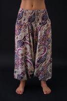 Harémové kalhoty fialovo-béžové