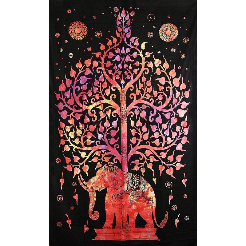 Přehoz na postel Slon červený 205 x 135 cm Indie