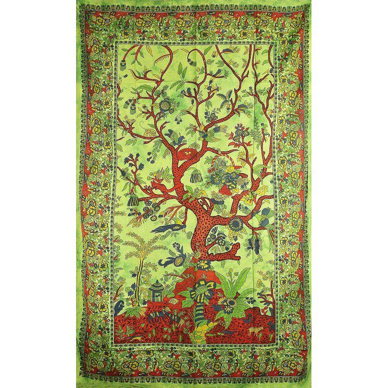 Přehoz na postel Strom života zelený 205 x 135 cm Indies