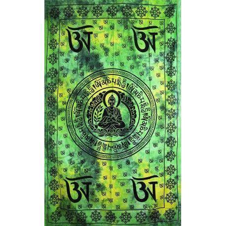 Přehoz Buddha zeleno-žlutý 210 x 140 cm Indie
