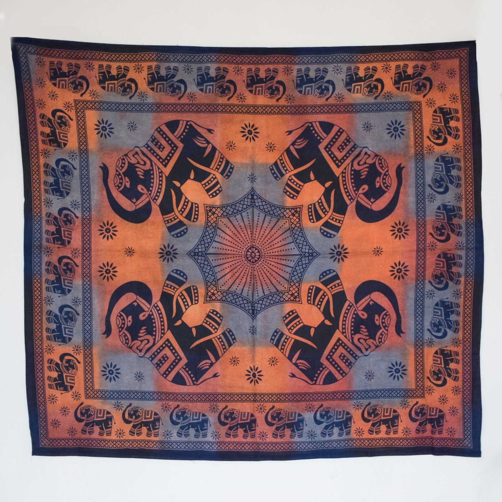 Přehoz na postel Multicolor Sloni 225 x 200 cm Indie