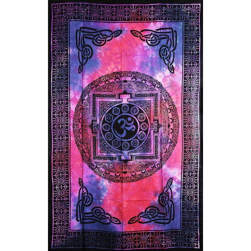 Přehoz na postel Óm fialovo-modrý 205 x 135 cm Indie