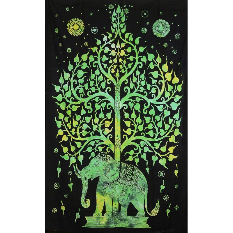 Přehoz na postel Slon zelený 205 x 135 cm Indie