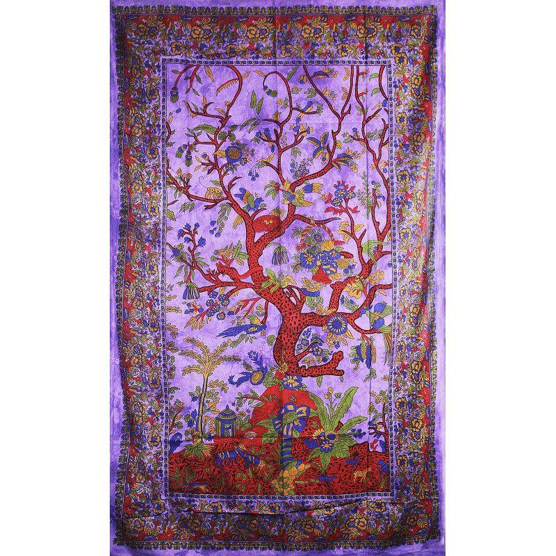 Přehoz na postel Strom života fialový 205 x 135 cm Indies