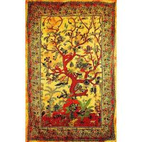 Přehoz Strom života oranžový 205 x 135 cm