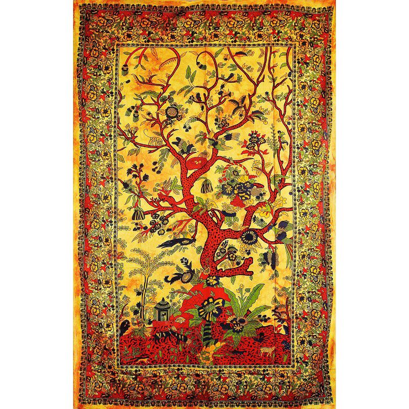 Přehoz na postel Strom života oranžový 205 x 135 cm Indie