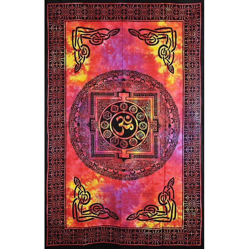 Přehoz na postel Óm červeno-oranžový 205 x 135 cm Indie