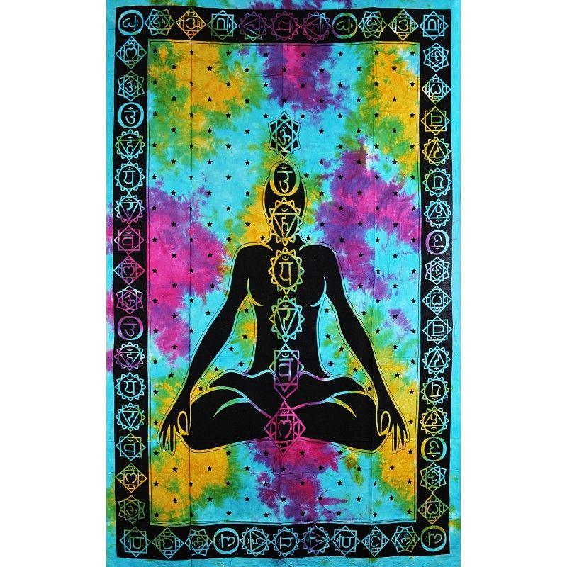 Přehoz Sedm čaker barevný 210 x 140 cm Indie