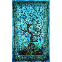 Přehoz Strom života modrý 210 x 140 cm