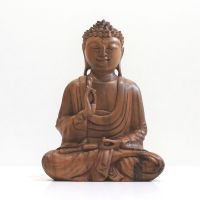 Soška Buddha dřevo 27 cm světlý