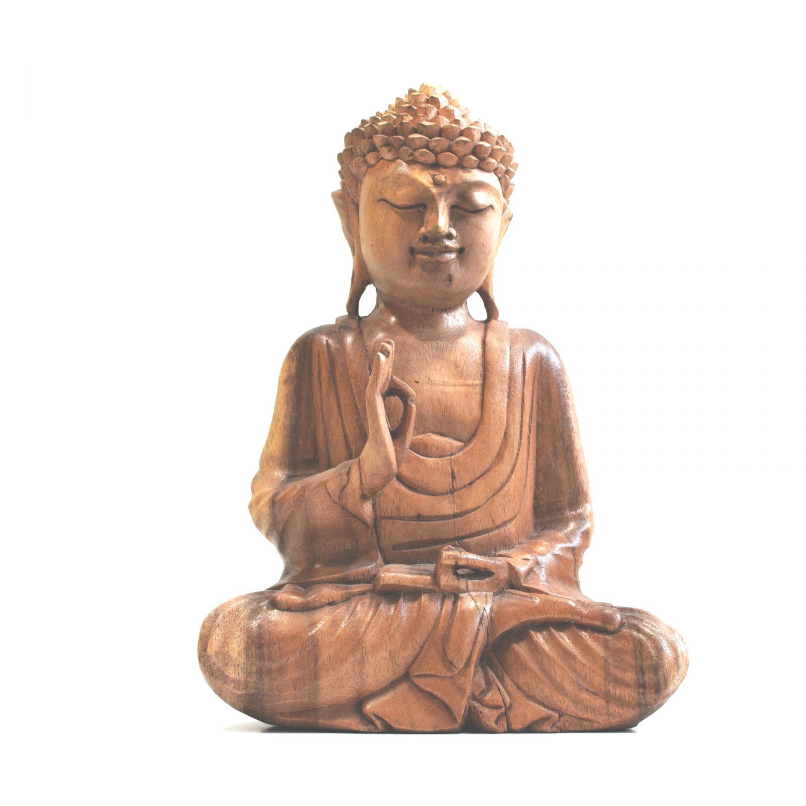 Soška Buddha dřevo 27 cm světlý Indonesie