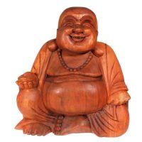 Soška Hotei smějící se buddha dřevo 30 cm