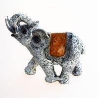 Soška Slon resin 15 cm s chobotem nahoru