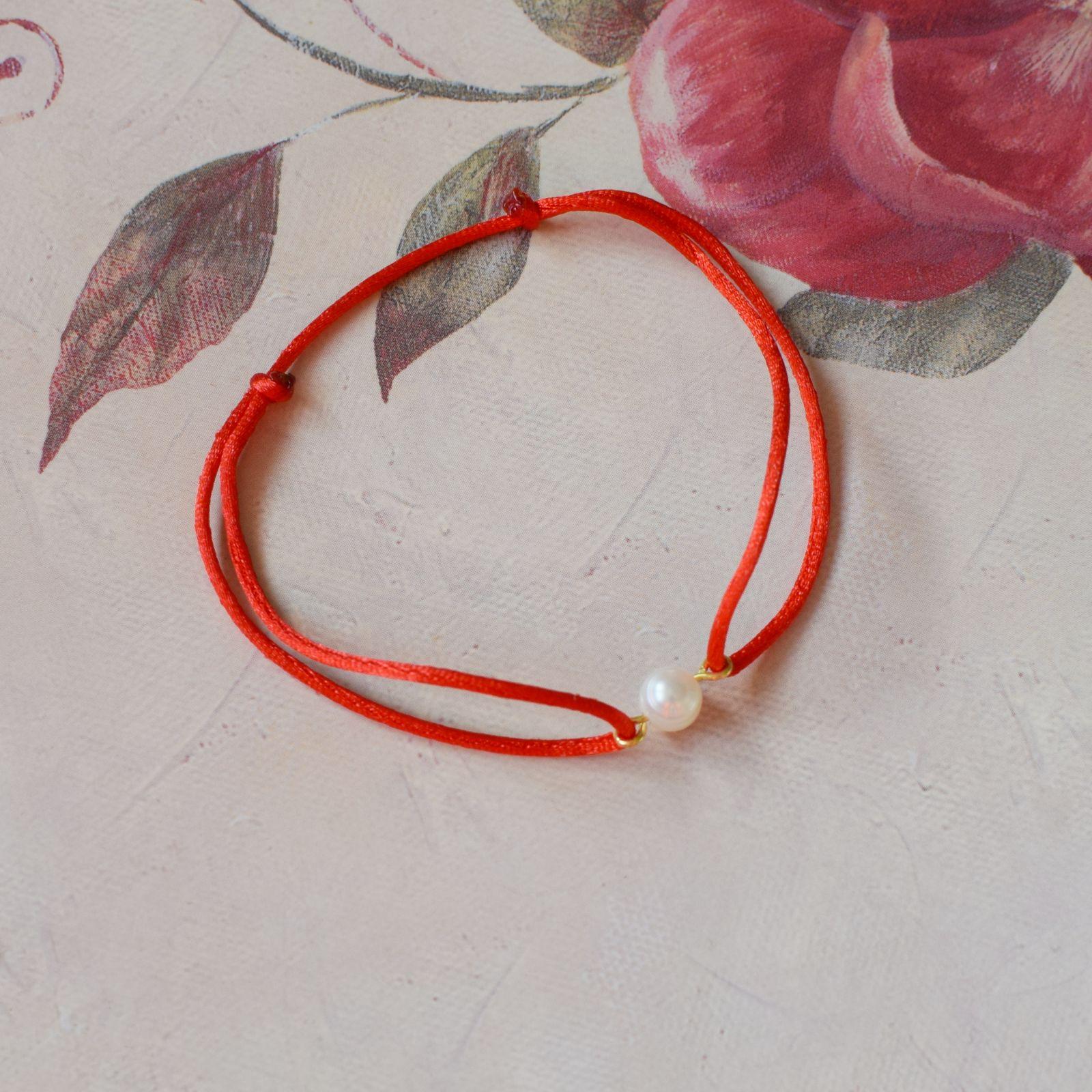 Dámský náramek s říční perlou červený