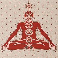 Indický přehoz na postel Čakry červený 235 x 210 cm