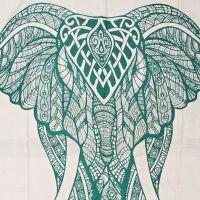 Indický přehoz na postel Elefant bílý 245 x 210 cm zelený