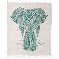 Přehoz Elefant bílý 245 x 210 cm zelený
