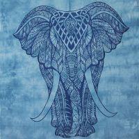 Indický přehoz na postel Elefant modro-šedý 245 x 215 cm modrý