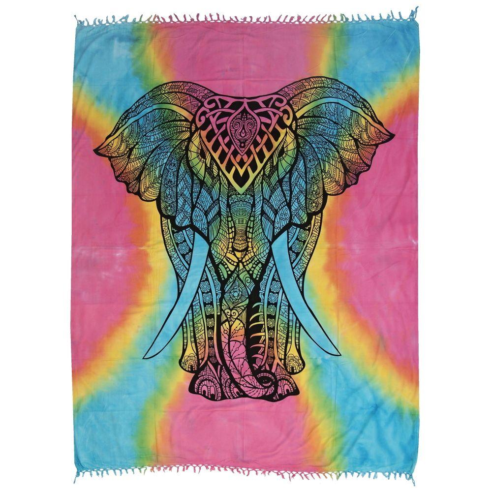 Indický přehoz na postel Elefant pestrobarevný 255 x 210 cm
