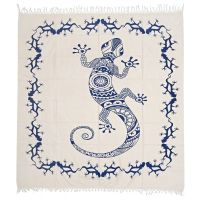 Přehoz Gekon bílý 220 x 215 cm modrý