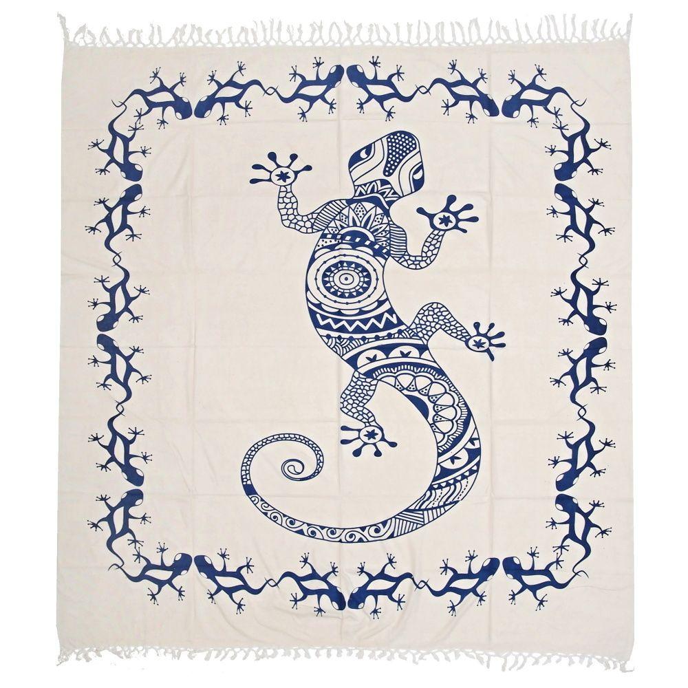 Indický přehoz na postel Gekon bílý 220 x 215 cm modrý