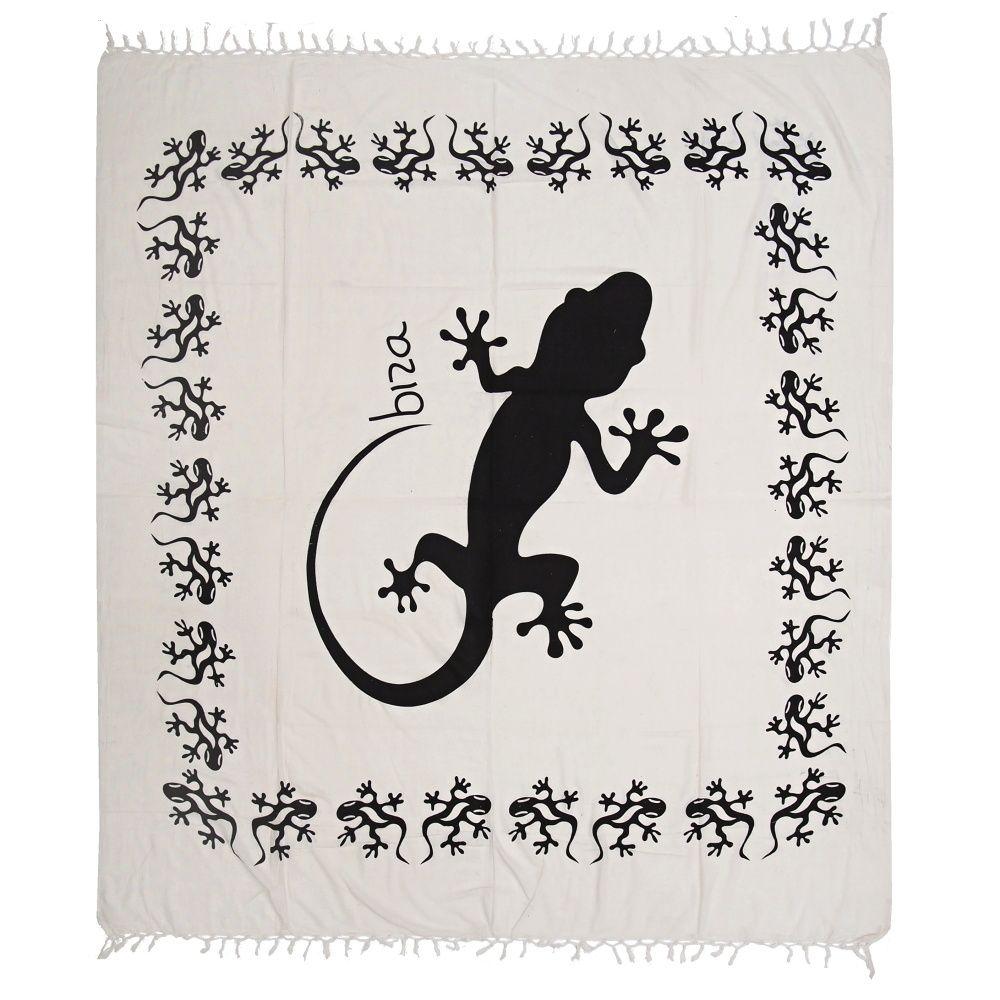 Indický přehoz na postel Gekon bílý 235 x 215 cm černý