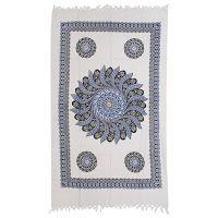 Přehoz Louka bílý 225 x 135 cm modrý