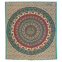 Přehoz Mandala červeno-zelený 235 x 210 cm