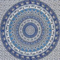 Indický přehoz na postel Mandala modrý 235 x 205 cm