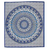 Přehoz Mandala modrý 235 x 205 cm