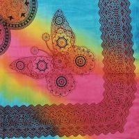 Indický přehoz na postel Motýli pestrobarevný 225 x 210 cm