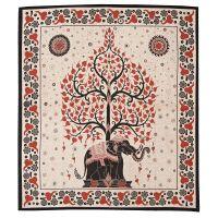 Přehoz Slon a strom červeno-černý 235 x 205 cm