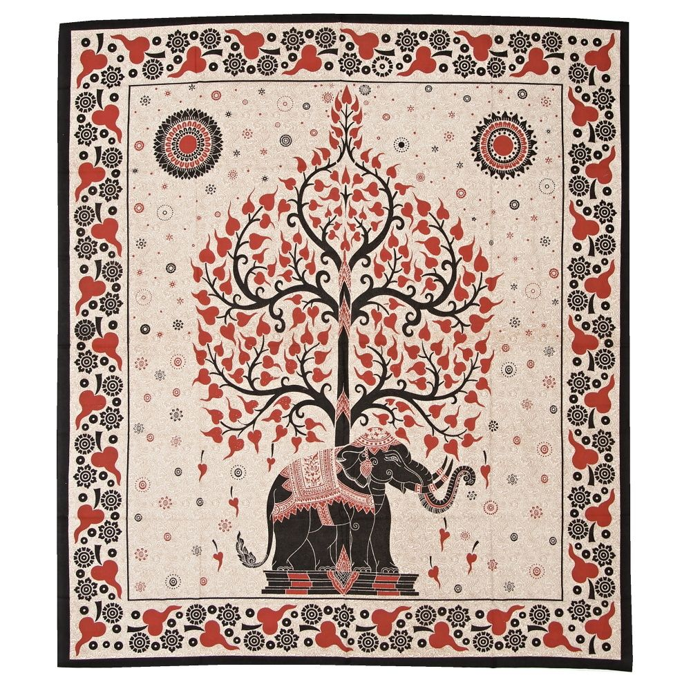 Indický přehoz na postel Slon a strom červeno-černý 235 x 205 cm