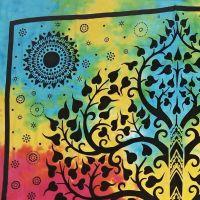 Indický přehoz na postel Slon a strom pestrobarevný 225 x 210 cm