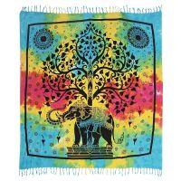 Přehoz Slon a strom pestrobarevný 225 x 210 cm