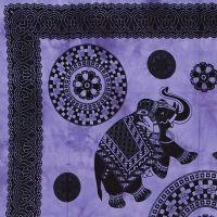 Indický přehoz na postel Sloni kvartet fialový 235 x 215 cm