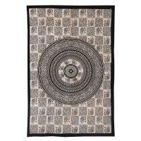 Indický přehoz na postel Sloni mandala béžový 205 x 135 cm