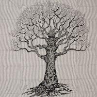 Indický přehoz na postel Strom života 235 x 220 cm černý
