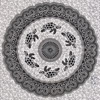 Indický přehoz na postel Želvy bílý 225 x 140 cm černý