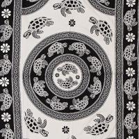 Indický přehoz na postel Želvy bílý 235 x 140 cm květy