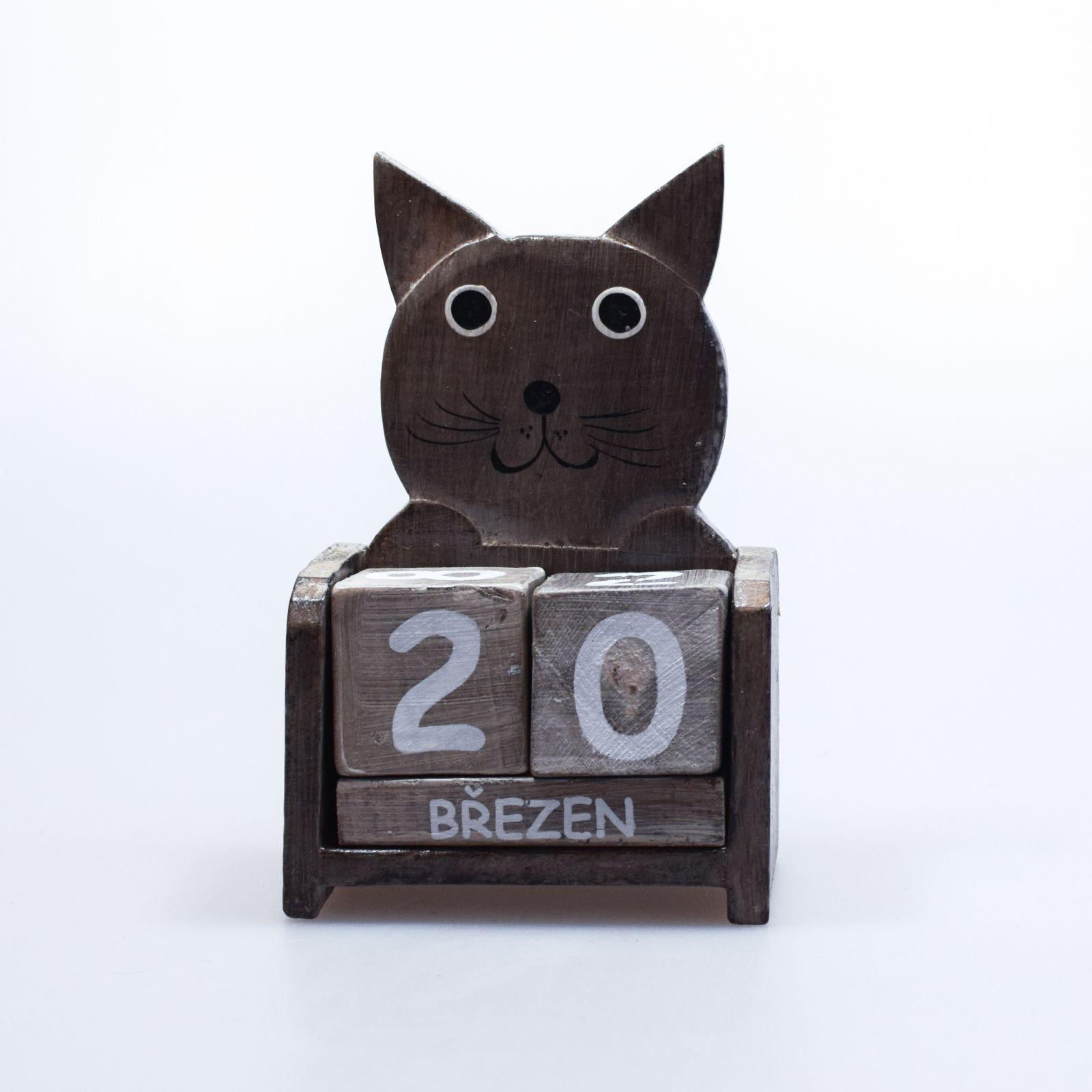 Kalendář dřevěný Kočka šedá 16 cm