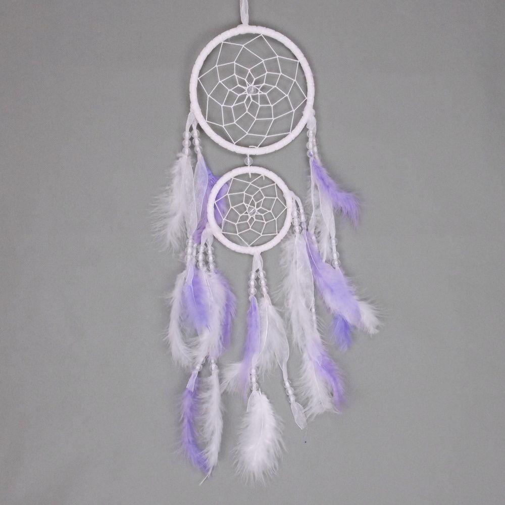 Lapač zlých snů 15 cm II bílý / fialový