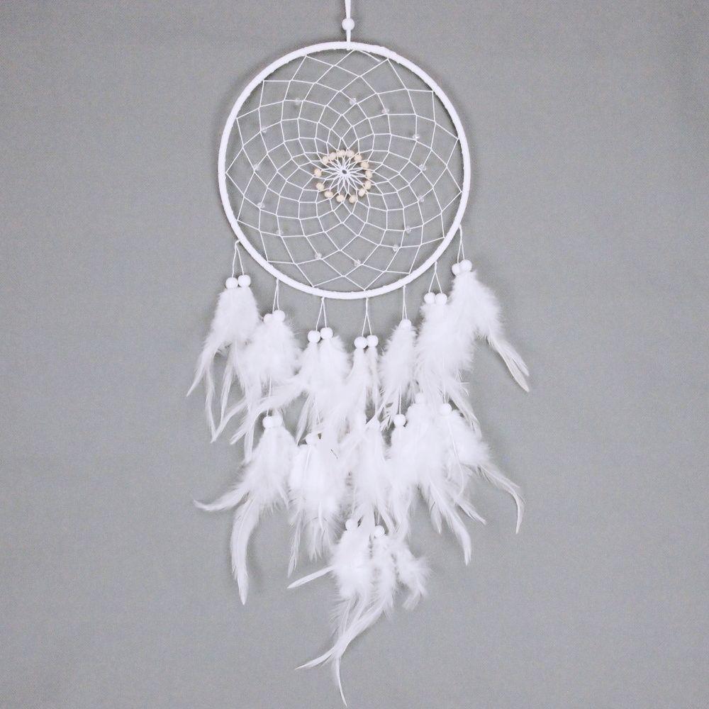Lapač zlých snů 20 cm bílý s korálky